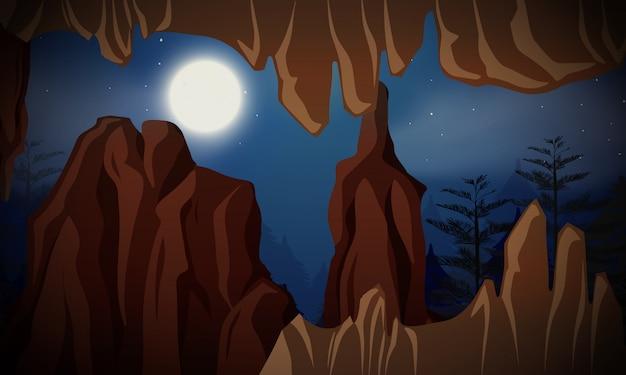 Caverna na cena noturna