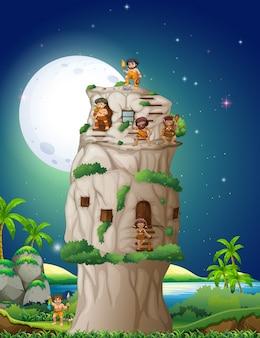 Caverna pessoas que vivem na casa de pedra