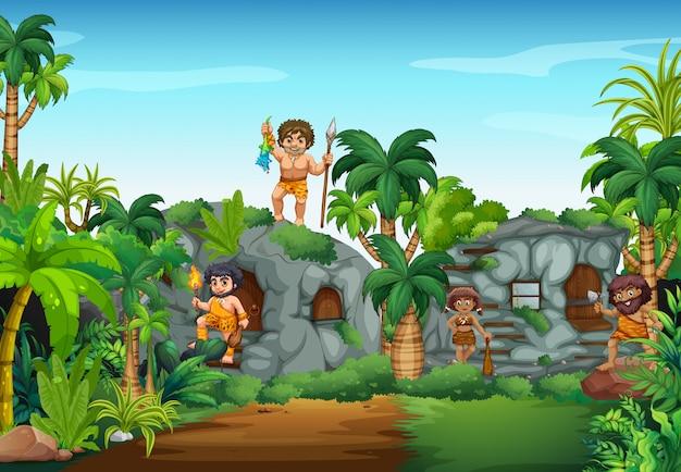 Caverna pessoas que vivem na floresta
