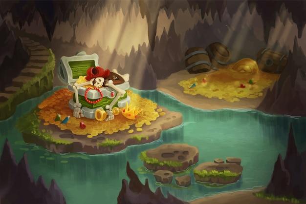 Caverna pirata cheia de tesouros. esqueleto guardando baú de tesouro.