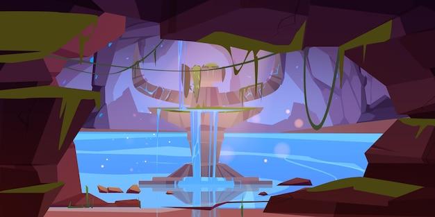 Caverna rochosa com altar antigo e água corrente
