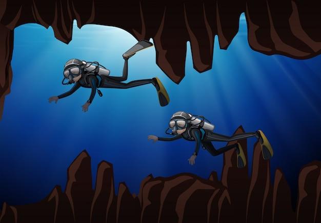 Caverna subaquática de mergulho