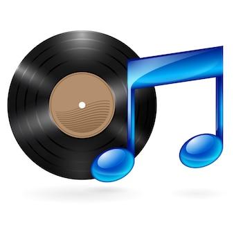 Cd de música e nota musical