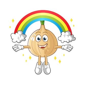 Cebola com um personagem de desenho animado mascote de arco-íris