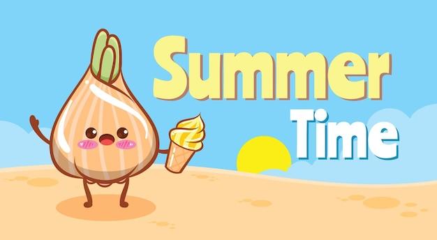 Cebola fofa segurando sorvete com uma faixa de saudação de verão
