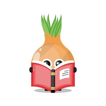 Cebola lendo um livro mascote de personagem fofa