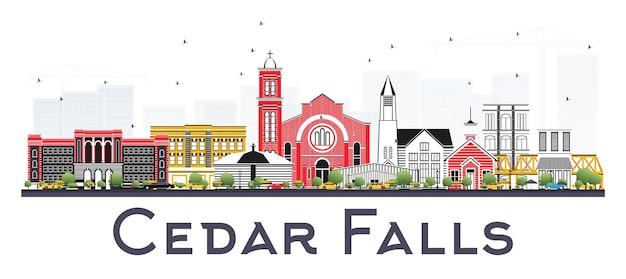 Cedar falls iowa skyline com ilustração colorida edifícios isolados.