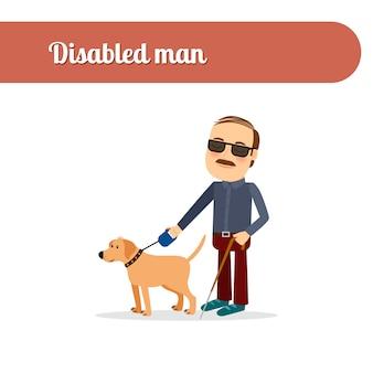 Cego, com, cão