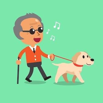 Cego, homem sênior, andar, com, seu, cão