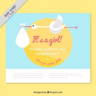 Cegonha bonito cartão do chuveiro de bebê