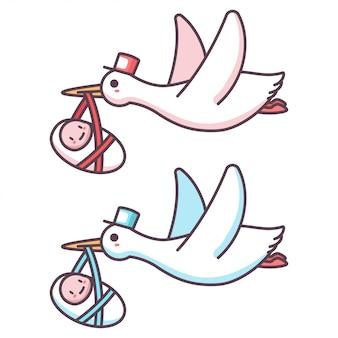Cegonha bonito dos desenhos animados e bebê menino e menina. ilustração de um pássaro voando carregando um garoto recém-nascido isolado em um fundo branco.