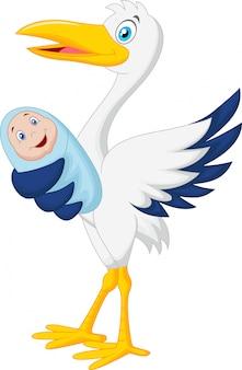Cegonha de desenhos animados com bebê