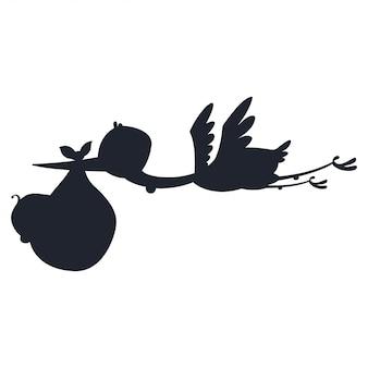 Cegonha de silhueta dos desenhos animados e bebê