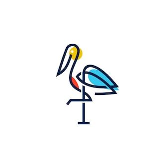 Cegonha logo colorido linha arte monoline esboço ilustração