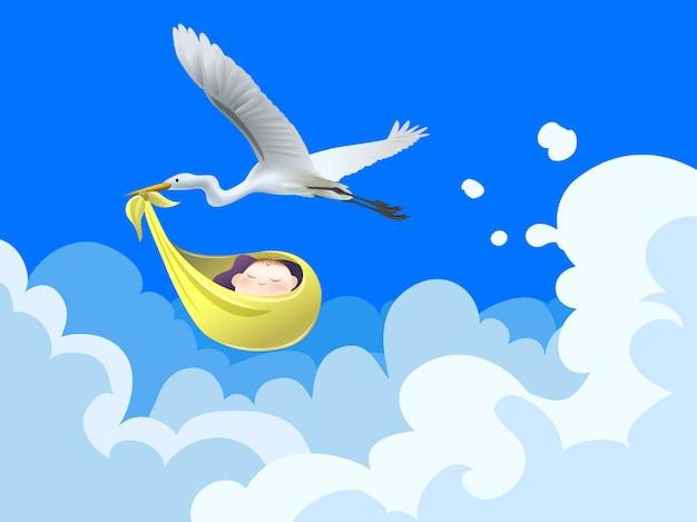 Cegonha voar no céu com bebê, feliz aniversário conceito