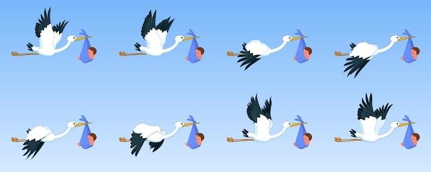 Cegonhas com a folha de sprite de animação de ciclo de vôo de baía