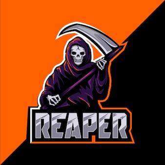 Ceifador crânio mascote esport design de logotipo