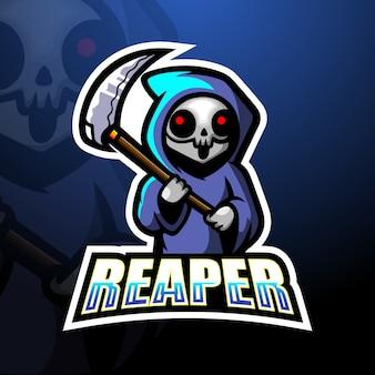 Ceifador crânio mascote esport logotipo ilustração