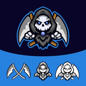 Ceifador de caveira com capuz preto esport mascot logo set
