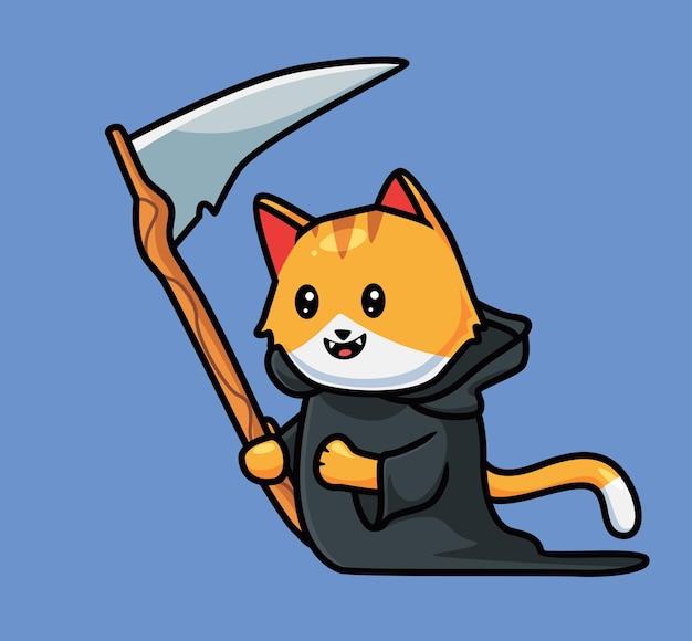 Ceifador de gato fofo. ilustração de halloween animal isolada dos desenhos animados. estilo simples adequado para vetor de logotipo premium de design de ícone de etiqueta. personagem mascote