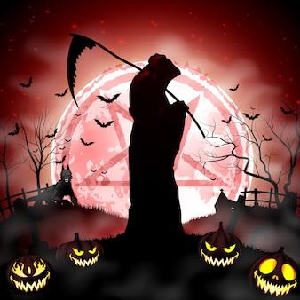 Ceifador de halloween segurando foice