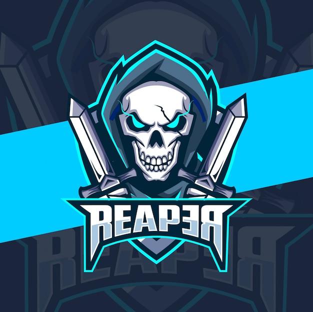 Ceifeira crânio com faca mascote esport design de logotipo