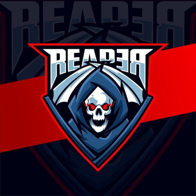 Ceifeira crânio mascote esport logotipo design
