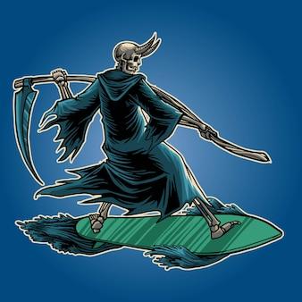 Ceifeira surf ilustração