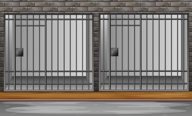Cela de prisão com ilustração de barras de metal