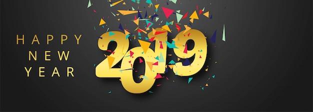 Celebração, 2019, coloridos, feliz ano novo, bandeira, desenho