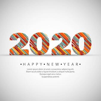 Celebração ano novo 2020 design de texto criativo