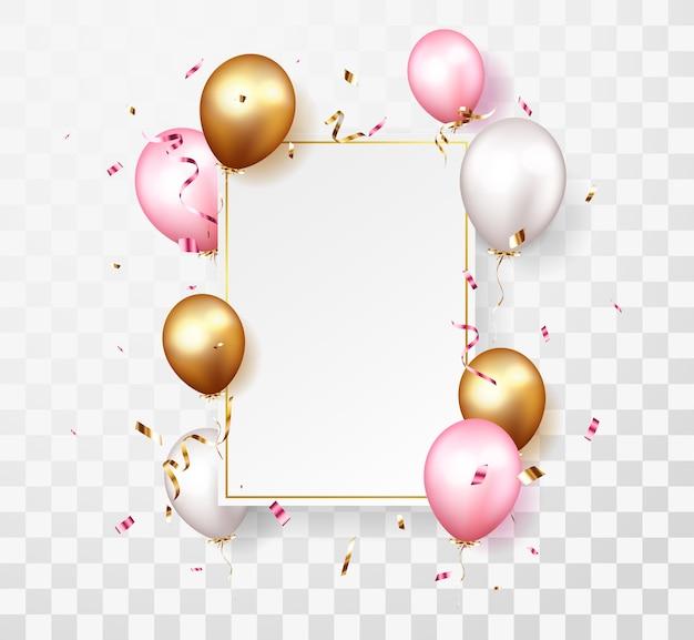Celebração com confetes e balões dourados