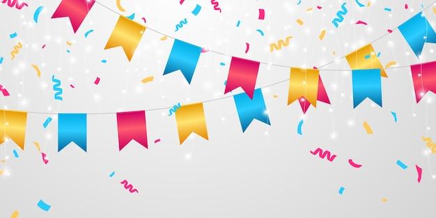 Celebração da bandeira confetes e fitas coloridas, aniversário do evento