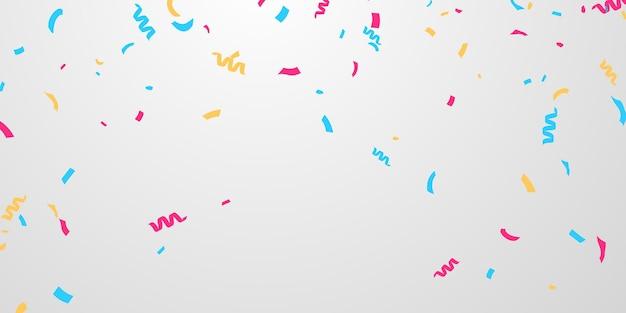Celebração da bandeira confetes e fitas coloridas, modelo de plano de fundo do evento aniversário com.