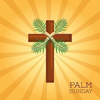 Celebração da celebração do cartão cruzado do domingo de palma domingo