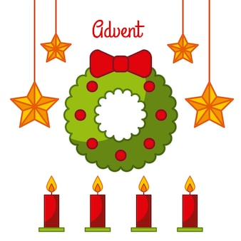 Celebração da decoração das velas da estrela de grinalda do advento