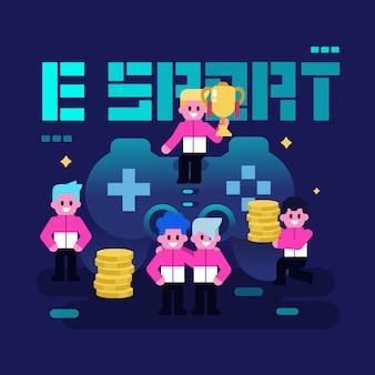 Celebração da equipe pro jogador, e conceito de esporte. ilustração em vetor torneio videogame