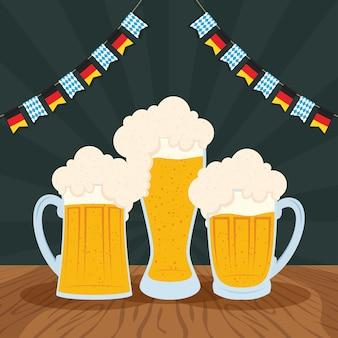 Celebração da festa da oktoberfest com design de ilustração vetorial de cervejas e guirlandas
