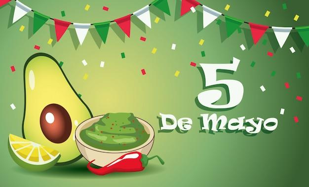Celebração da festa de cinco de maio com molho guacamole