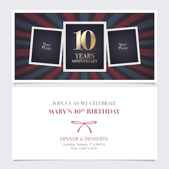 Celebração da festa de convite de aniversário de dez anos