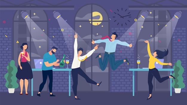 Celebração da festa de escritório e equipe feliz dos desenhos animados