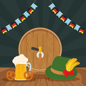 Celebração da festa oktoberfest com design de ilustração vetorial de barril de cerveja