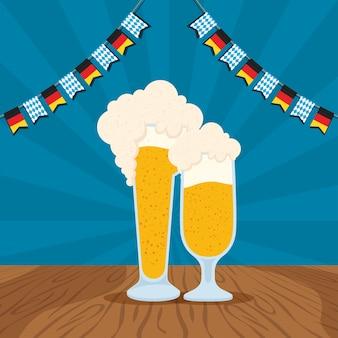 Celebração da festa oktoberfest com jarra de cerveja e desenho de ilustração vetorial de guirlandas