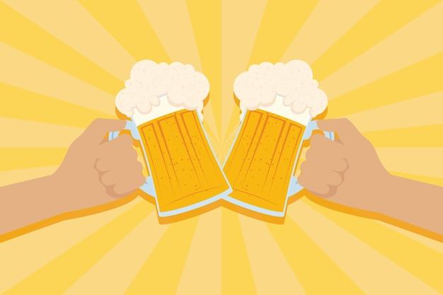 Celebração da festa oktoberfest com mãos e potes de cerveja ilustração vetorial design