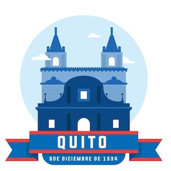 Celebração da fundação de quito com construção de igreja Vetor Premium
