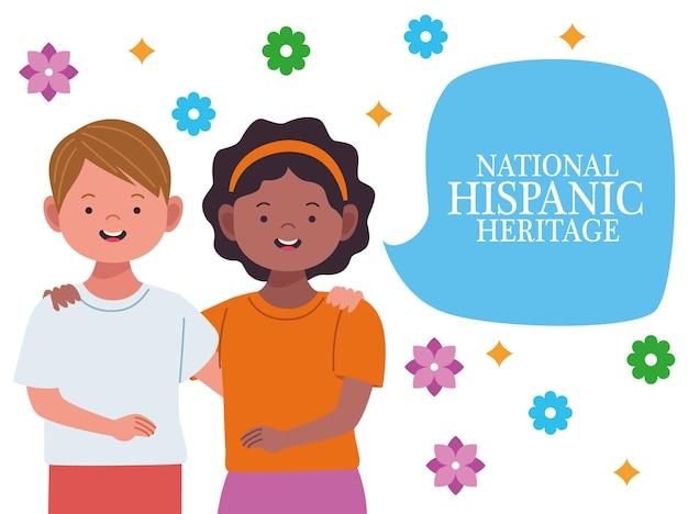 Celebração da herança hispânica nacional com casal inter-racial e balão de fala