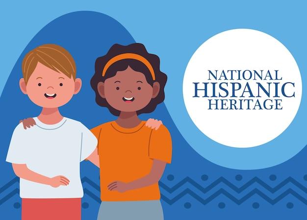 Celebração da herança hispânica nacional com casal inter-racial e letras
