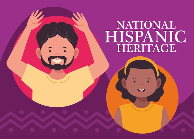 Celebração da herança hispânica nacional com casal inter-racial