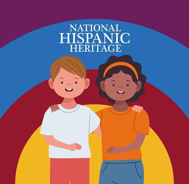 Celebração da herança hispânica nacional com personagens de casais inter-raciais
