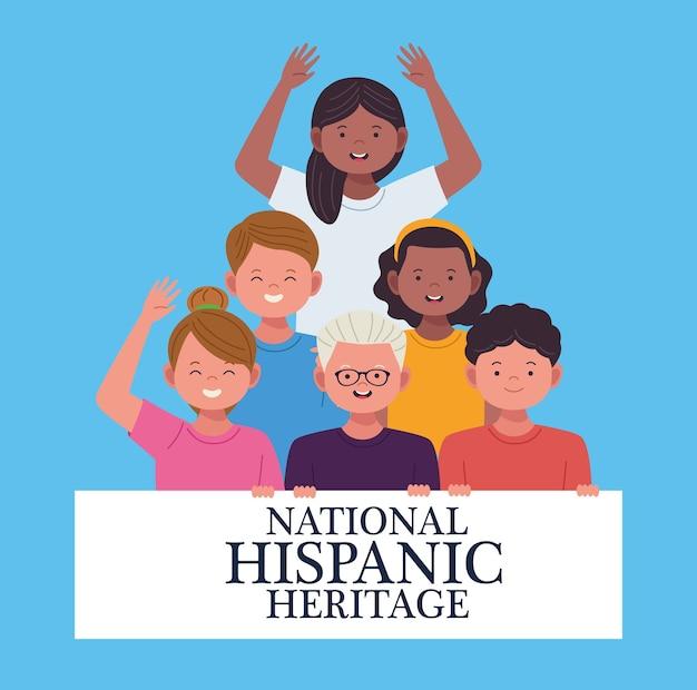 Celebração da herança hispânica nacional com personagens de grupos de pessoas